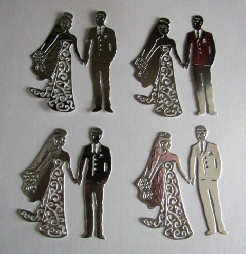 4 X BEAUTIFUL WEDDING BRIDE AND GROOM DIE CUTS IN SILVER